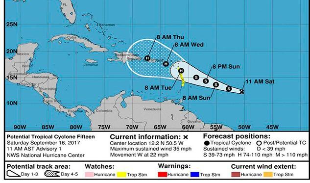 Tormenta tropical María se convertirá en huracán en los próximos días