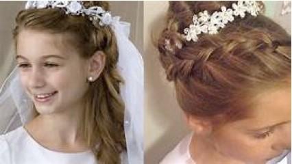Peinados de primera comunion cabello recogido